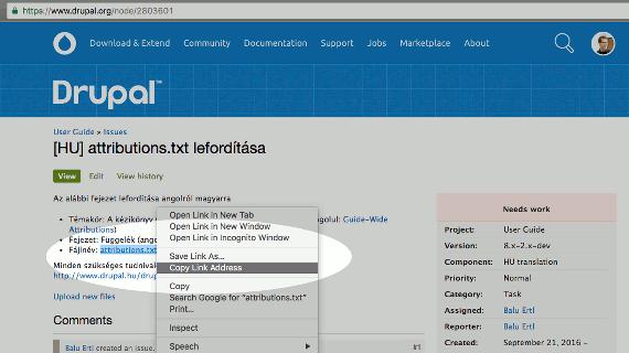 Képernyőkép a forrásfájl útvonalának kimásolásáról