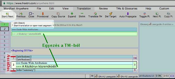 Képernyőkép a FreeTM felületének használatáról fordítás közben