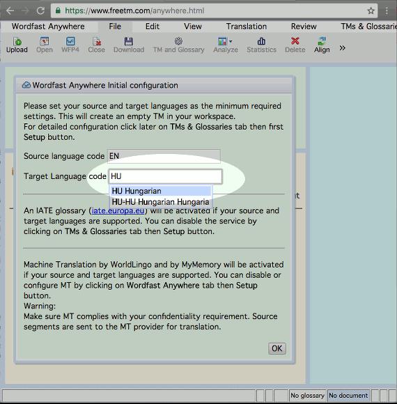 Képernyőkép a célnyelv nyelvkódjának beállításáról
