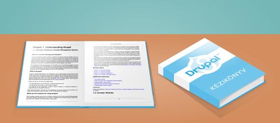 Rajz a Drupal 8 kézikönyv borítójáról és kinyitott oldalpárjáról